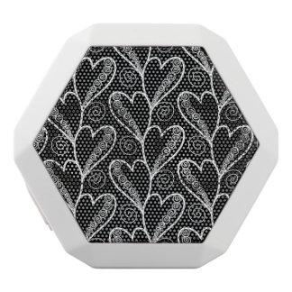 抽象的な禅の落書きのハートの円はパターンを振り回します ホワイトBluetoothスピーカー