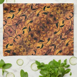 抽象的な秋の葉のシルエットパターン キッチンタオル