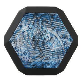 抽象的な種族の落書きのデジタル芸術、青及び白 ブラックBluetoothスピーカー