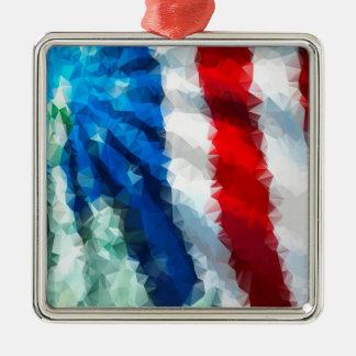 抽象的な米国旗か優れた正方形のオーナメント メタルオーナメント