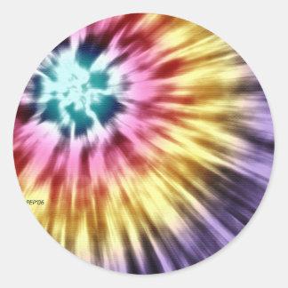 抽象的な紫色の絞り染め ラウンドシール