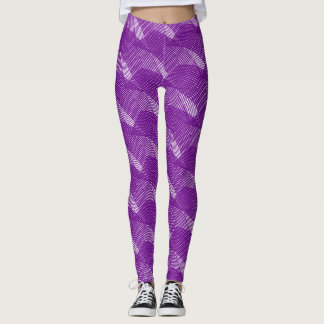 抽象的な紫色ラインモダンな白 レギンス
