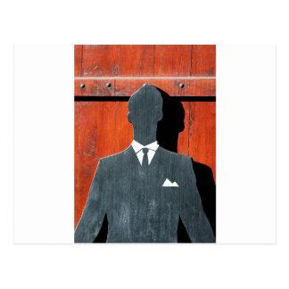 抽象的な紳士のスーツのシルエット ポストカード