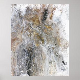 抽象的な絵画の灰色の黒い金ゴールドの白のアートワーク ポスター