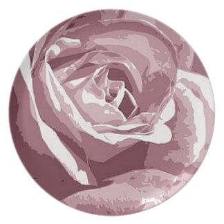 抽象的な絹の花こう岩のばら色の絵のデザイン プレート