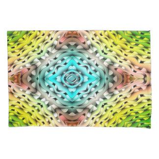 抽象的な緑の淡いブルーおよびピンクの背景 枕カバー