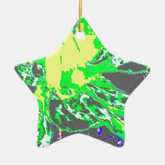 抽象的な緑の花のダリアの花模様 セラミックオーナメント
