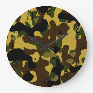 抽象的な緑の茶色の黄色いカムフラージュパターン 壁時計