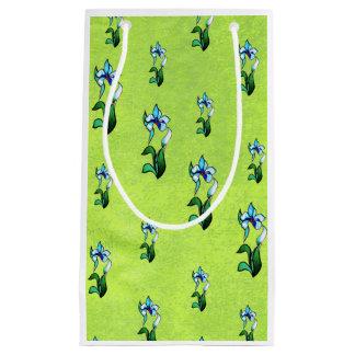 抽象的な緑の青緑のネオン花 スモールペーパーバッグ
