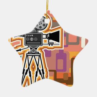 抽象的な背景の映写機のフィルムのカメラ セラミックオーナメント