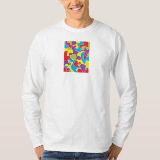 抽象的な色の製本所の長袖のティー Tシャツ