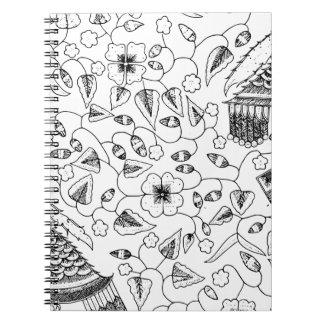 抽象的な花いっぱいのインドネシアの織物 ノートブック