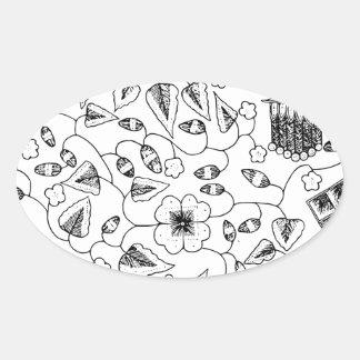 抽象的な花いっぱいのインドネシアの織物 楕円形シール