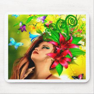 抽象的な花および女の子 マウスパッド