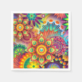 抽象的な花のはっきりしたな色のパーティーのナプキン スタンダードカクテルナプキン