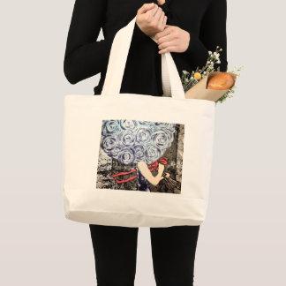 抽象的な花のトートバック ラージトートバッグ