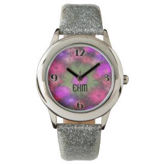 抽象的な花のモノグラムのなノベルティの腕時計 腕時計