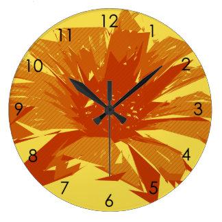 抽象的な花の夏Duotone ラージ壁時計