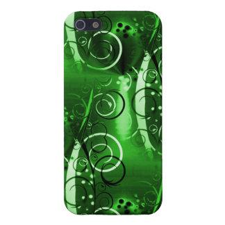 抽象的な花の渦巻のつる植物の緑のガーリーなギフト iPhone 5 CASE