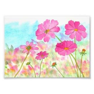 抽象的な花の芸術のピンクの宇宙の野生花 フォトプリント
