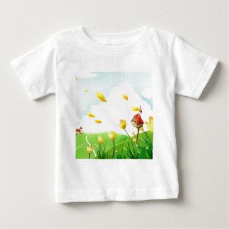 抽象的な花の風が強い分野 ベビーTシャツ