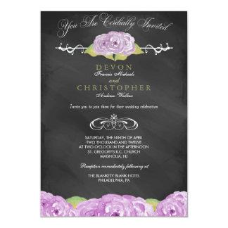 抽象的な花の黒板の結婚式招待状 カード