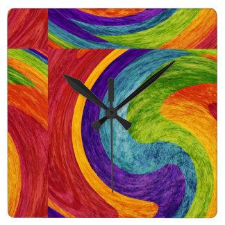 抽象的な芸術の絵画 スクエア壁時計