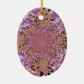 抽象的な薄紫の藤色の花のダリアの花模様 セラミックオーナメント