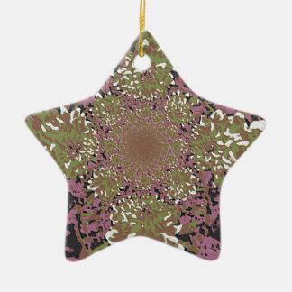 抽象的な藤色の調子の花のダリアの花模様 陶器製星型オーナメント