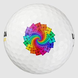 抽象的な虹のモチーフのゴルフ・ボール ゴルフボール