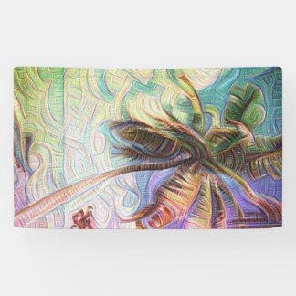 抽象的な虹のヤシの木 横断幕