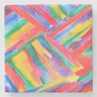 抽象的な虹の水彩画 ストーンコースター