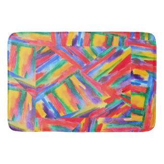 抽象的な虹の水彩画 バスマット