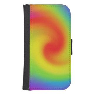 抽象的な虹の波の芸術の電話ウォレットケース