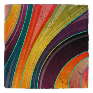 抽象的な螺線形の虹の多彩なデザイン トリベット