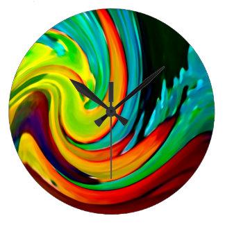 抽象的な衝突の波のビーチハウス ラージ壁時計