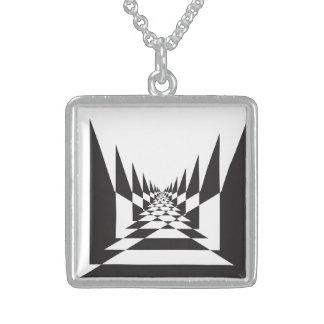 抽象的な見通しのチェス盤 スターリングシルバーネックレス
