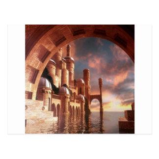 抽象的な都市海の石 ポストカード