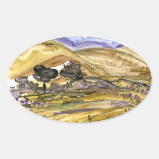 抽象的な金草の景色の芸術のステッカー 楕円形シール
