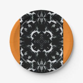 抽象的な錯覚- BW-のカスタムな紙皿7つ ペーパープレート