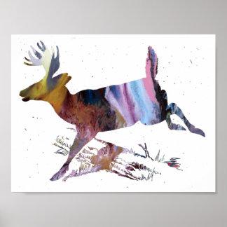 抽象的な雌ジカのシルエット ポスター