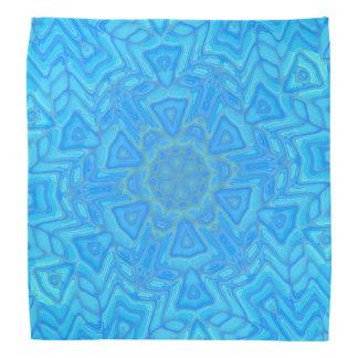 抽象的な青緑およびターコイズの氷の花 バンダナ
