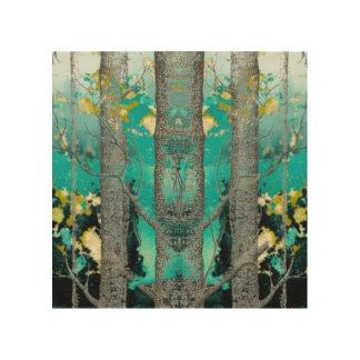 抽象的な青緑の森林芸術 ウッドウォールアート