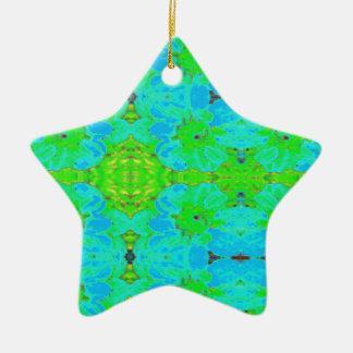 抽象的な青緑の花のダリアの花模様 陶器製星型オーナメント