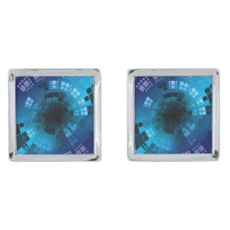 抽象的な青 シルバー カフスボタン