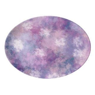 抽象的な青、薄紫、ピンクのアクリルの絵画 磁器大皿