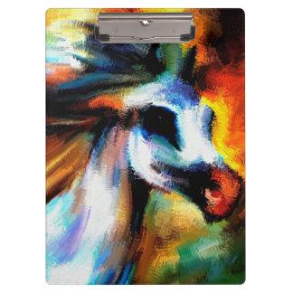 抽象的な馬の芸術の美しい灰色白の騎手 クリップボード