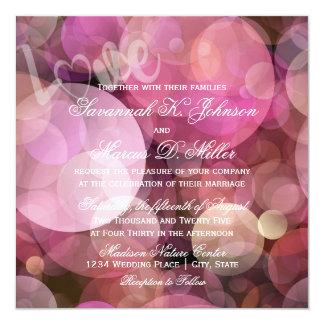 抽象的な《写真》ぼけ味のピンク紫色愛結婚式招待状 カード