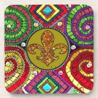 抽象的な(紋章の)フラ・ダ・リのタイルのモザイクカラフル コースター