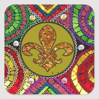 抽象的な(紋章の)フラ・ダ・リのタイルのモザイクカラフル スクエアシール